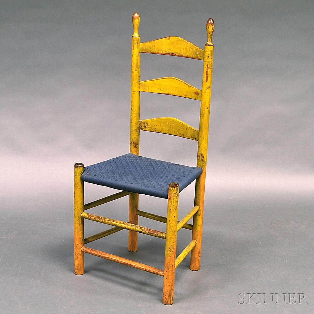 Yellow-painted Tape-woven Ladder-back Side Chair