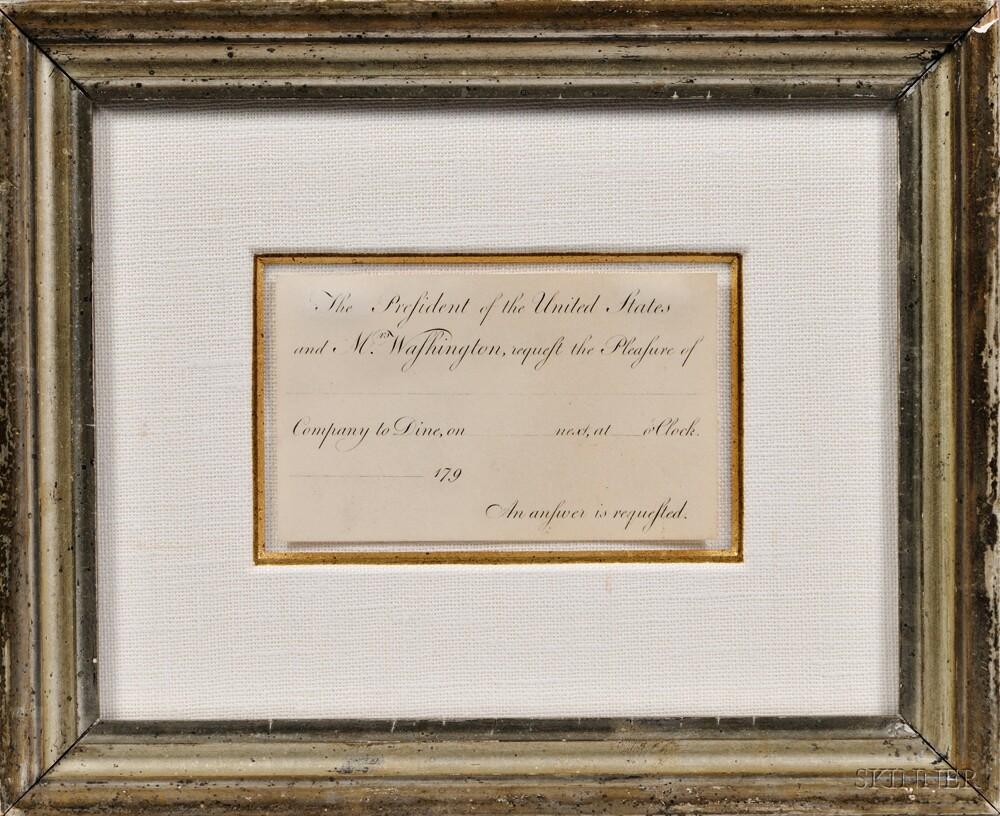 Washington, George (1732-1799) Engraved Presidential Invitation c. 1790, Unsigned.