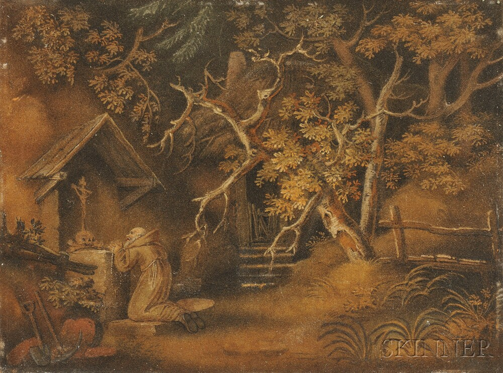 Attributed to Benjamin Zobel (German, 1762-1831)    Hermit Monk, Possibly St. Jerome, in Prayer at a Wilderness Shrine