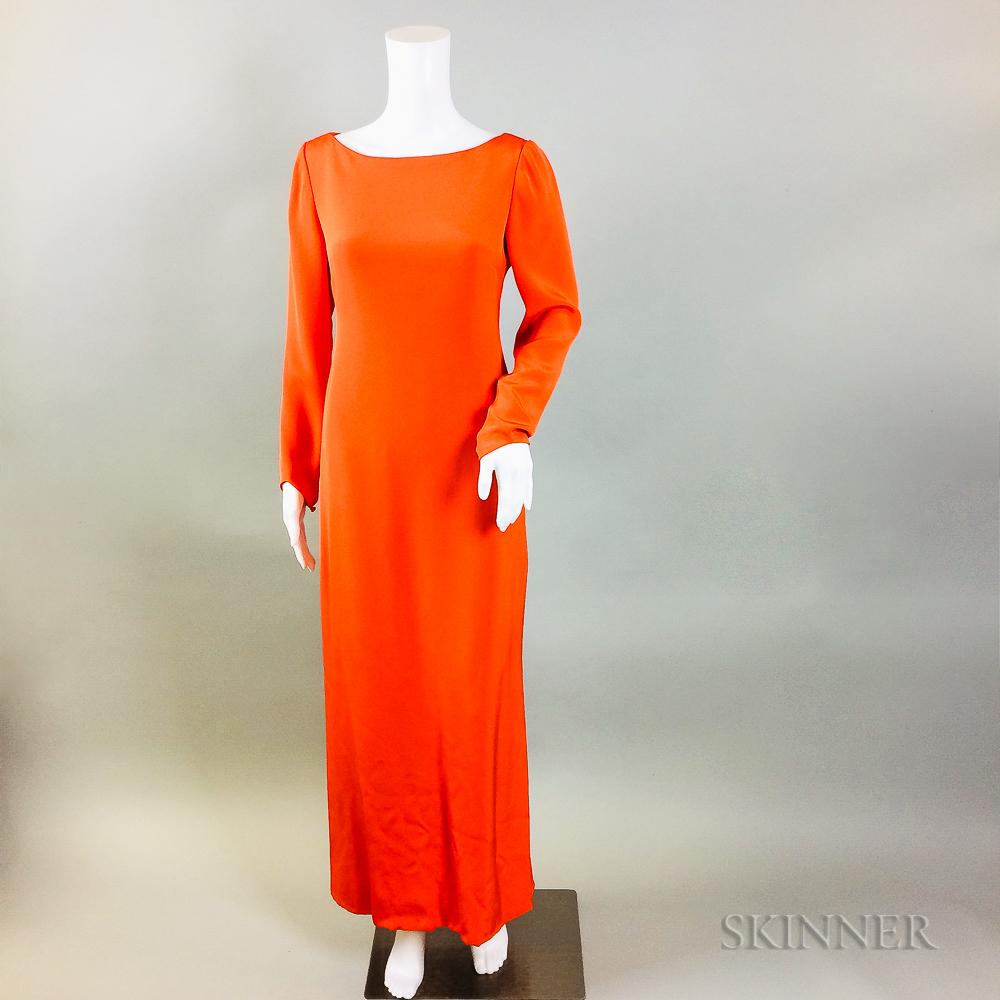 Oscar de la Renta Orange Silk Gown