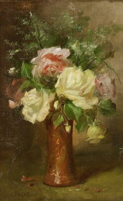 Jules Felix Ragot (French, ac. 1867-1882)  Still Life with Roses