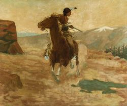 School of William Elling Gollings (American, 1878-1932)  Cheyenne Spirited Indian, Sheridan, Wyoming