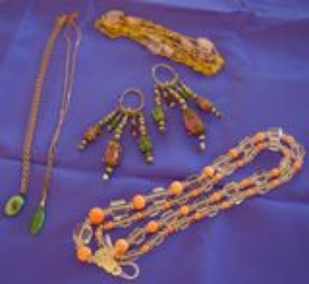 Pair of Ethnic Earpendants, Two Pendant Necklaces, and Two Beaded Necklaces