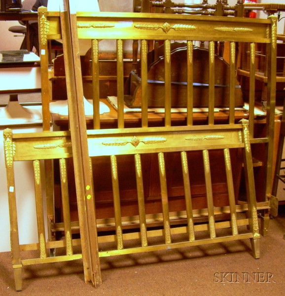 French Neoclassical Brass Bed