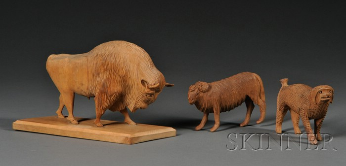 Three Carved Pine Animal Figures Attributed to Aaron Mountz