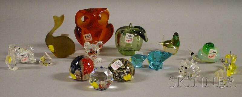 Thirteen Art Glass Figures and Three Art Glass Paperweights
