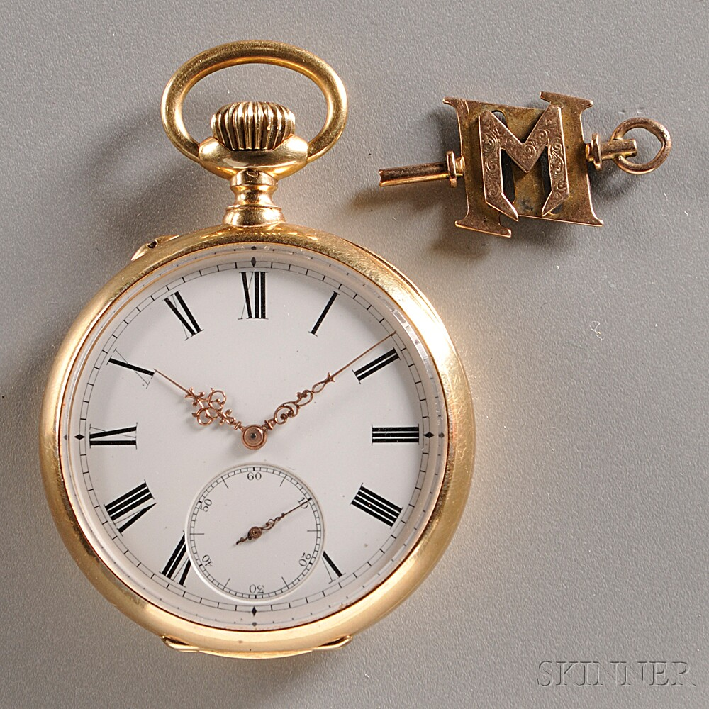 """18kt Gold Open Face Watch with """"M"""" Fob"""