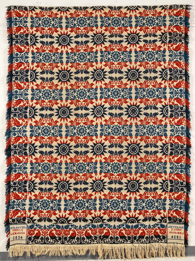 Wool Red, White, and Blue Jacquard Coverlet