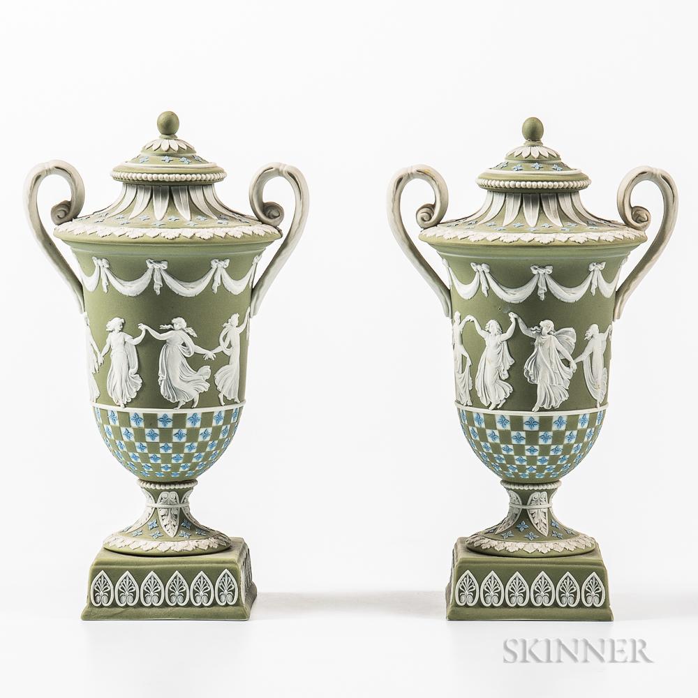 Pair of Wedgwood Tricolor Jasper Dip Diceware Vases and Covers