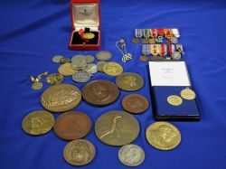 Group of Gold Coins, Dress Medals, Commemorative Bronze Medallions, Etc.