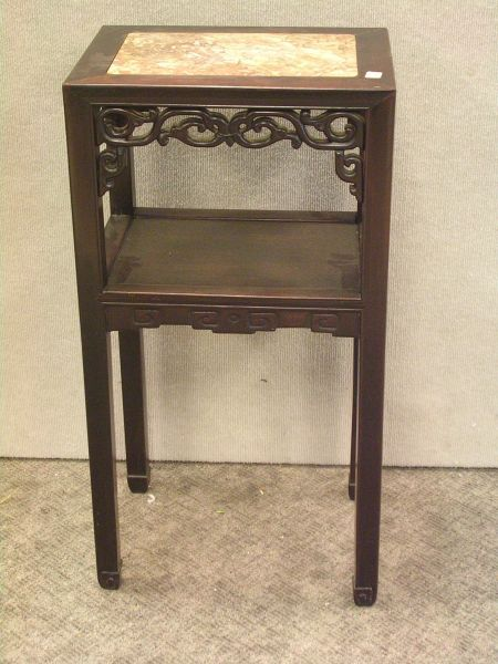Chinese Marble-Inset Carved Hardwood Stand and a Barrel-form Seat.