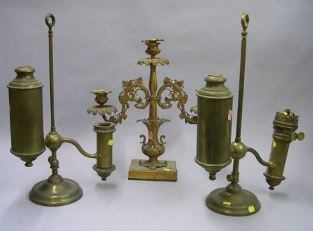 Two Brass Student Lamp Bases and a Gilt Brass Girandole Candelabra.