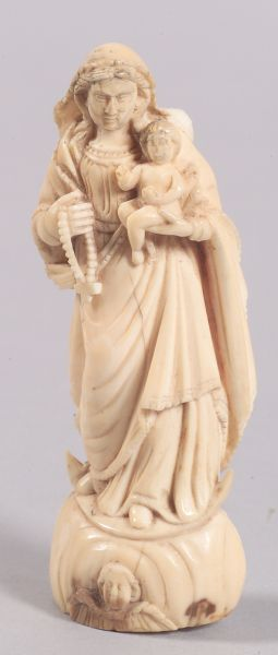 Carved Ivory Figure of the Madonna and Child
