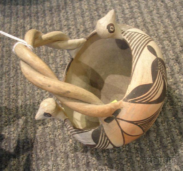 Two Southwest Polychrome Pottery Bowls