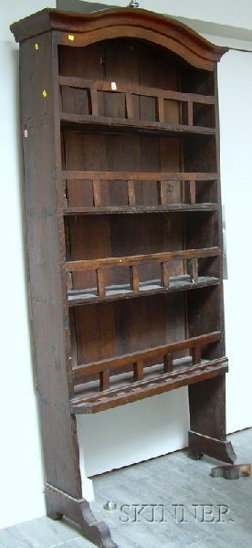 English Provincial Oak Trestle-foot Open Cupboard