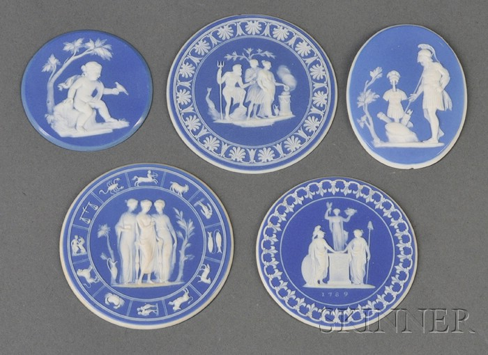 Five Wedgwood Dark Blue Jasper Dip Polished Edge Medallions