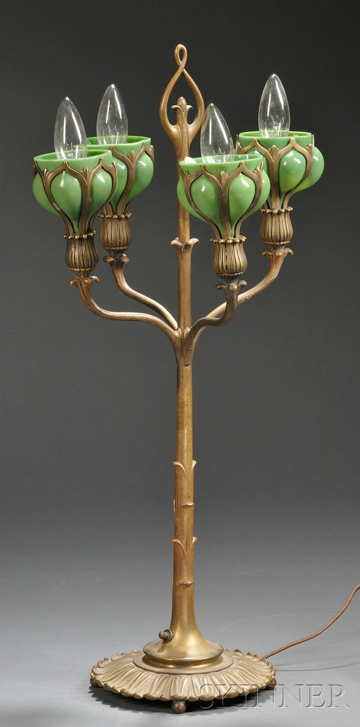 Art Nouveau Candelabra Table Lamp
