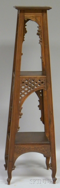 French Art Nouveau Carved Walnut Pedestal.