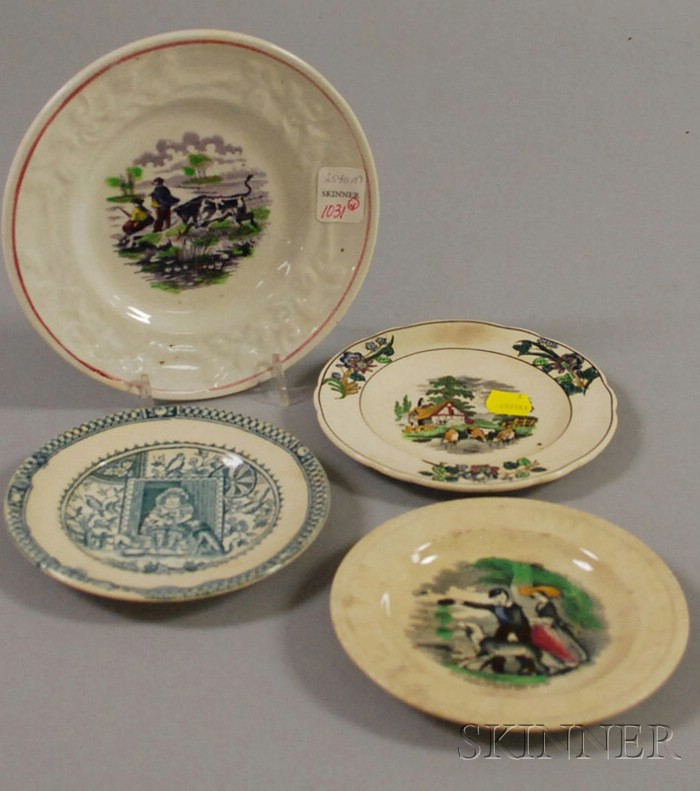 Four Transfer-decorated Earthenware Children's Plates
