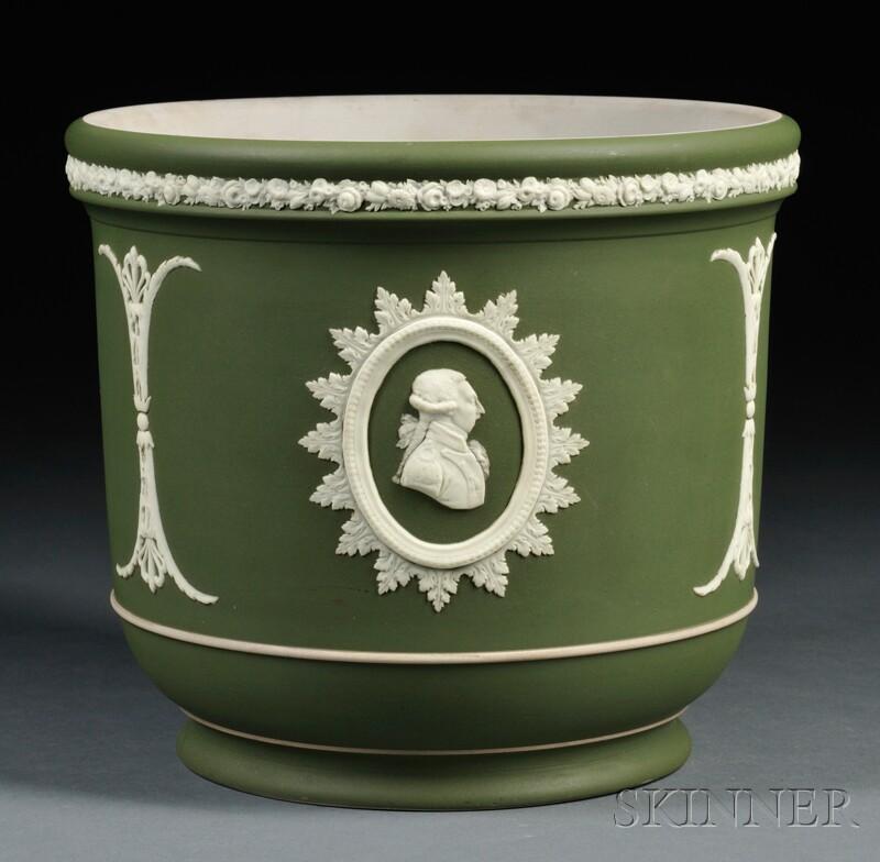 Wedgwood Commemorative Olive-green Jasper Jardiniere