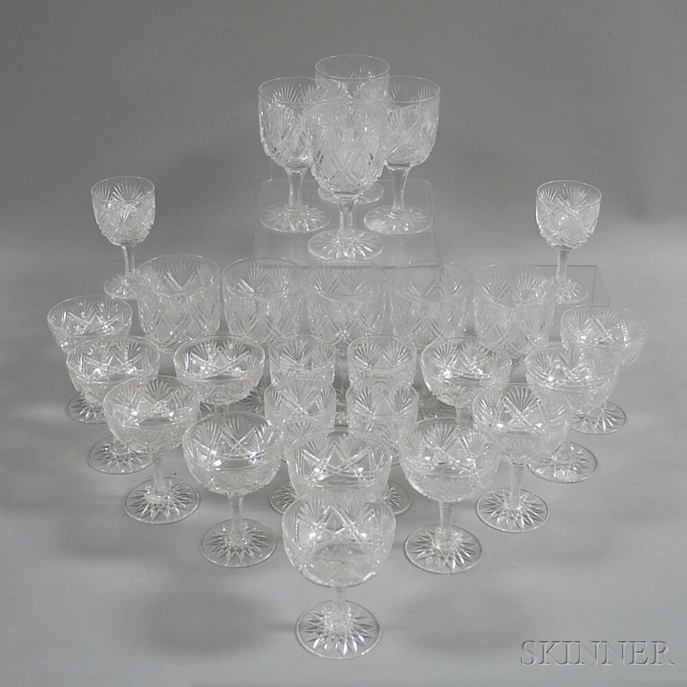 Twenty-seven Pieces of Cut Glass Stemware