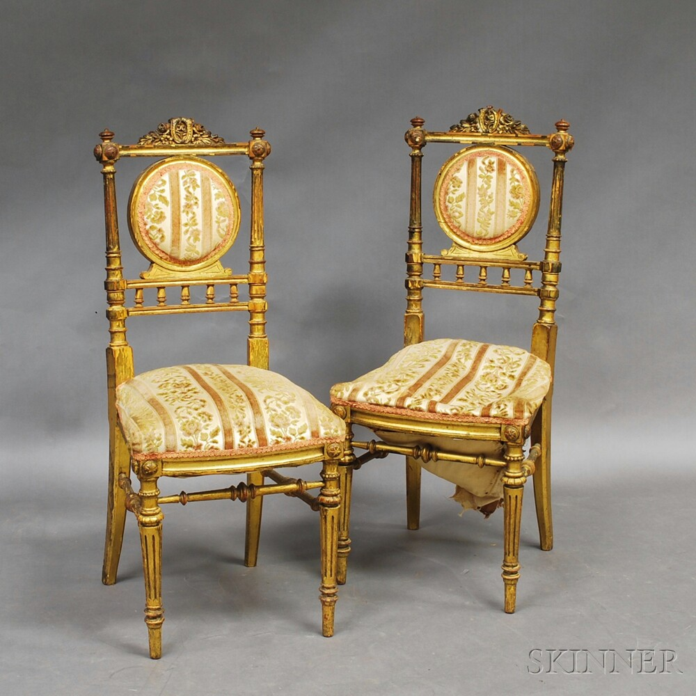 Pair of Louis XVI-style Giltwood Side Chairs