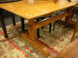 Provincial Pine Trestle-base Dining Table.