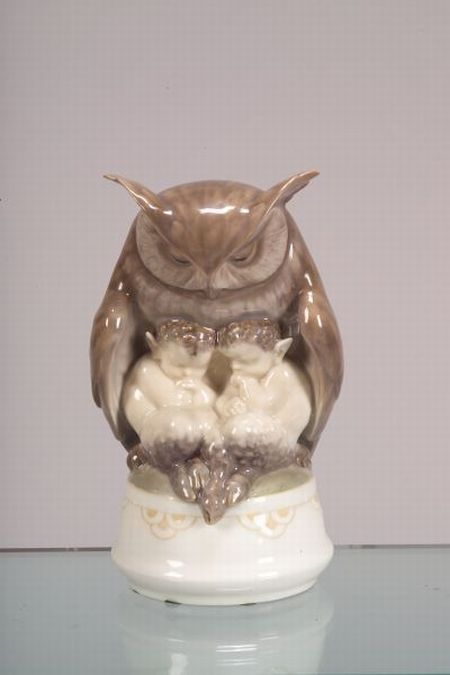 Royal Copenhagen Porcelain Owl and Two Fauns