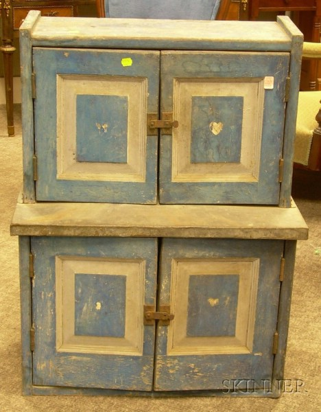 Child's Blue and Gray-painted Wooden Paneled Step-back Cupboard