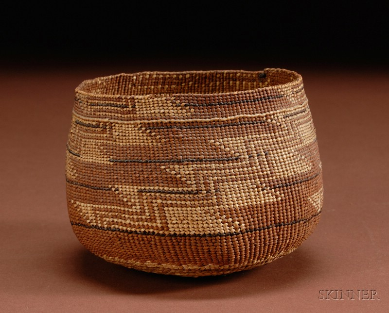 Northern California Polychrome Twined Basketry Bowl