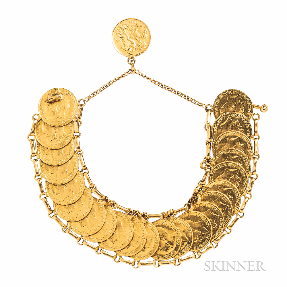 George V Gold Sovereign Bracelet