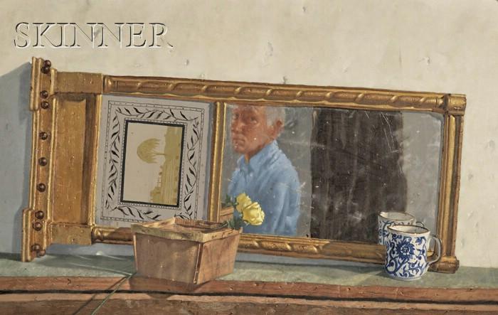 John Paulus Semple (American, b. 1930)      Self Portrait in an Antique Mirror