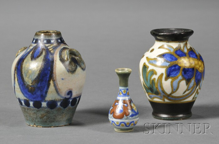 Three Miniature Semi-matte Glaze Gouda Pottery Vases