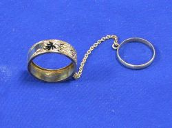 Victorian Etched Gold and Enameled Holder Ring.