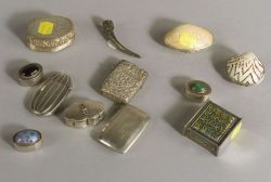 Seven Small Silver and Silver Mounted Boxes