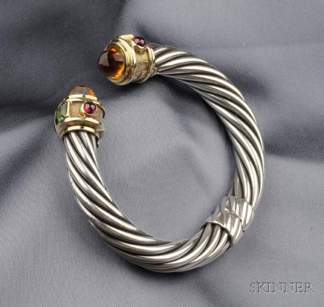 Sterling Silver, 14kt Gold, and Gem-set Bracelet, David Yurman