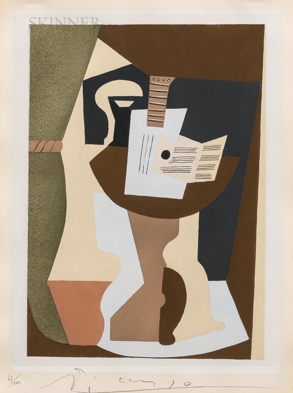 After Pablo Picasso (Spanish, 1881-1973)      Guitare et partition sur guéridon