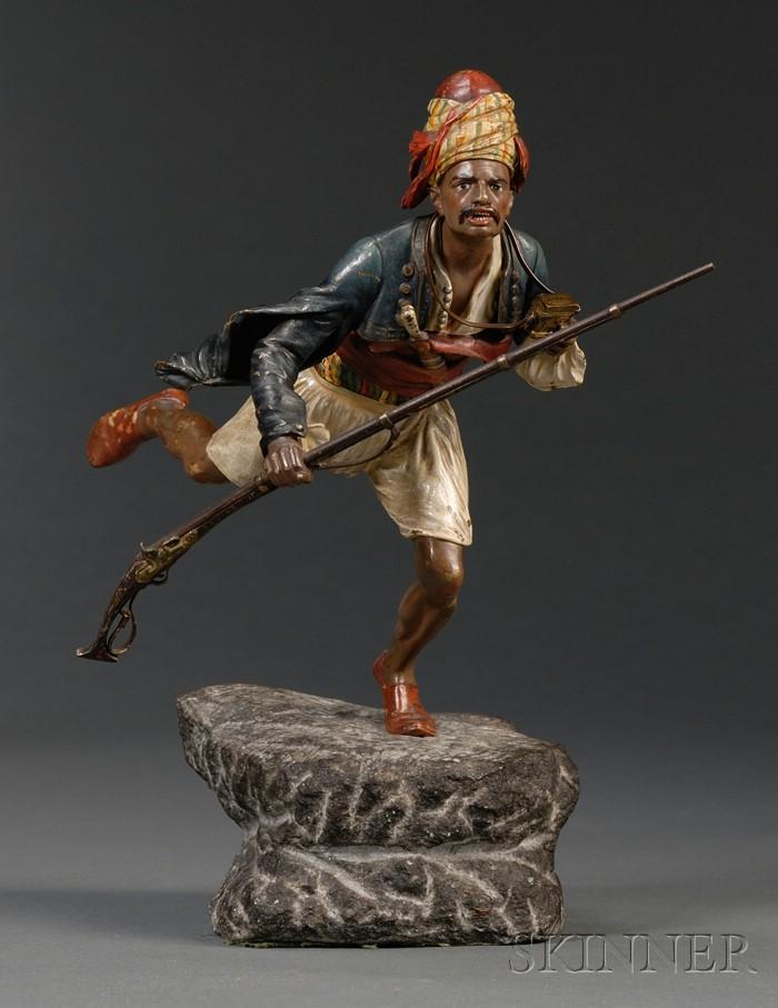 Bergman Cold Painted Bronze Figure of an Arab Warrior