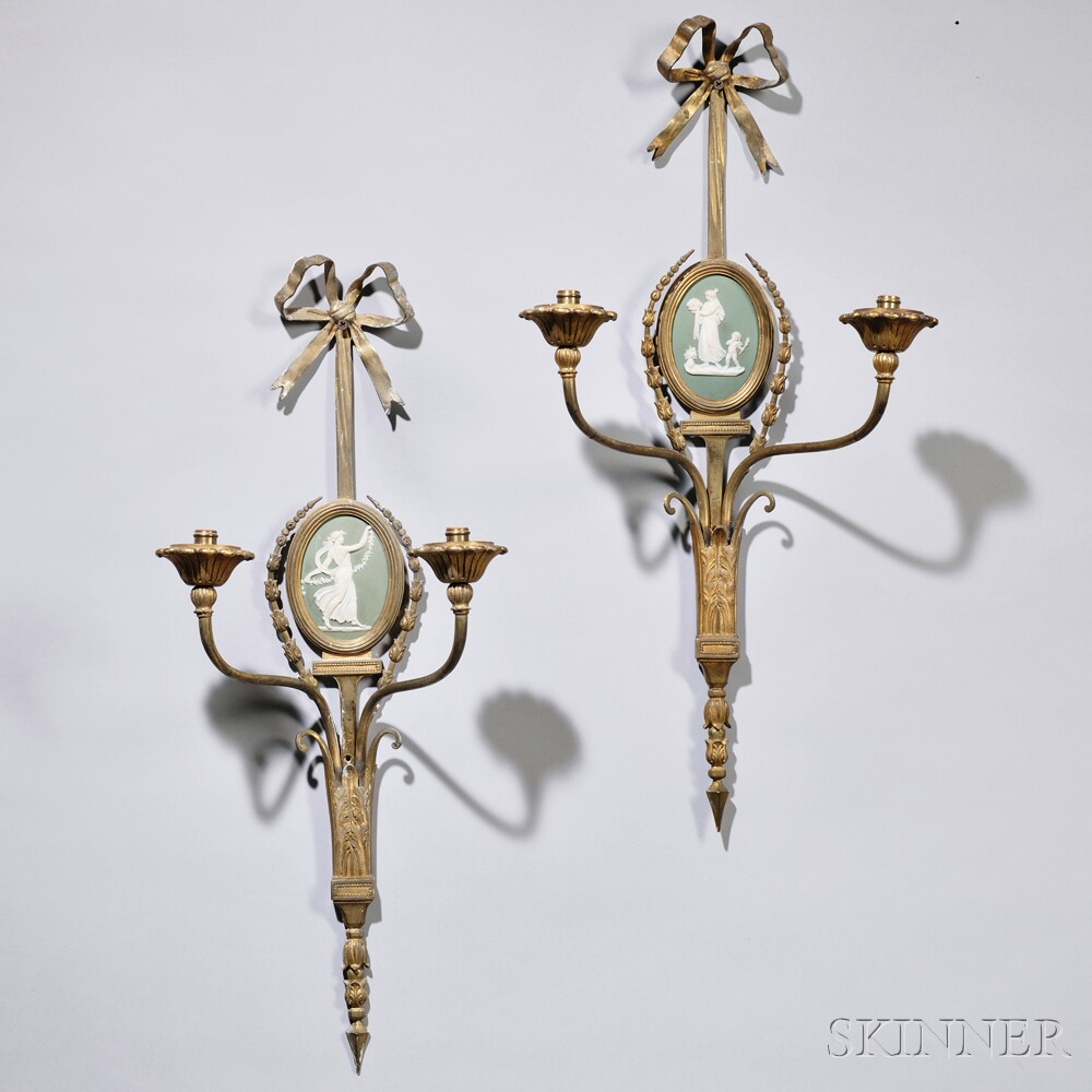 Pair of Adam-style Wedgwood-mounted Brass Wall Sconces