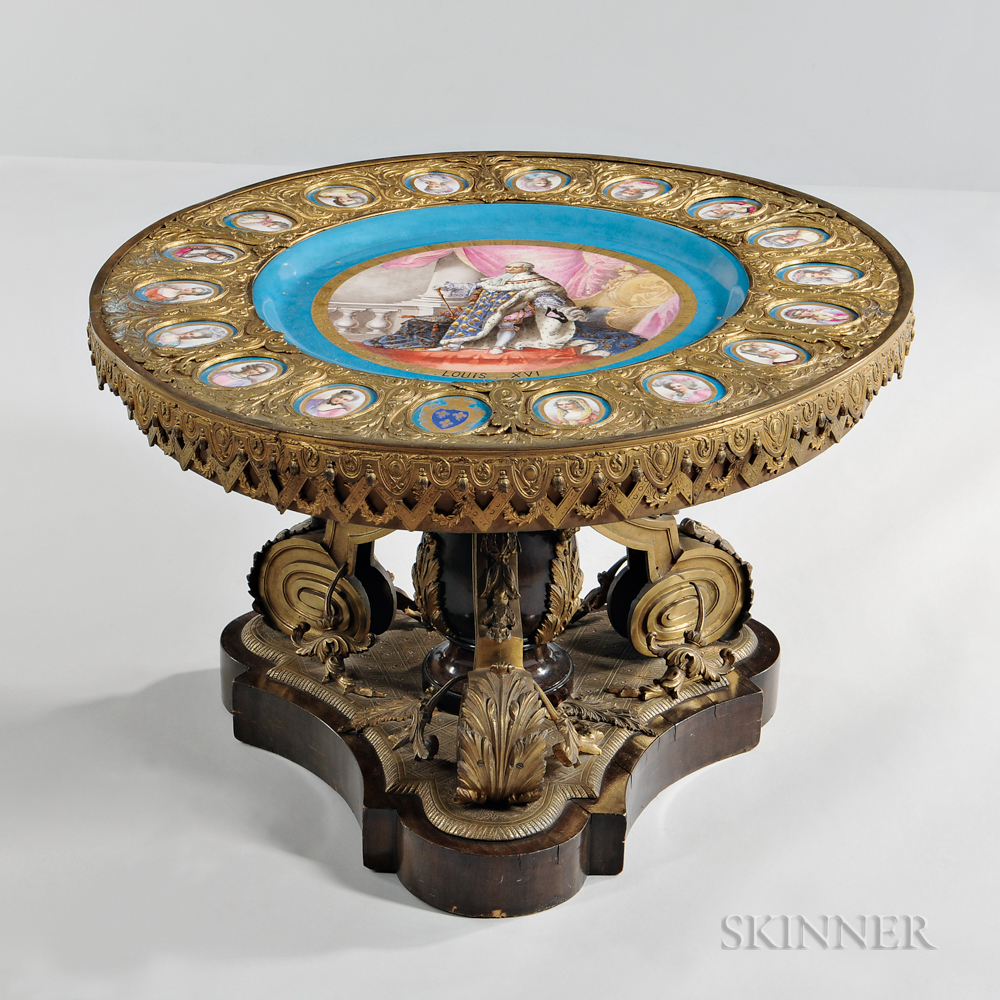 Sevres-style Gilt-bronze Low Table with Porcelain Plaques