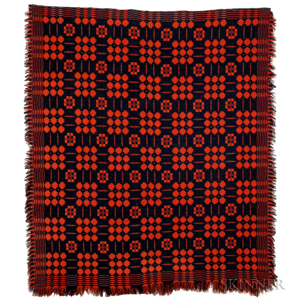 Red and Blue Woven Jacquard Coverlet