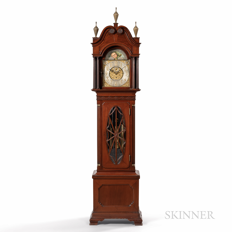 Walter H. Durfee & Co. Mahogany Nine Tubular-bell Hall Clock
