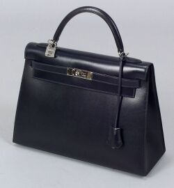 "Blue Leather ""Kelly"" Bag"