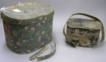 Two 19th Century Wallpaper Band Boxes