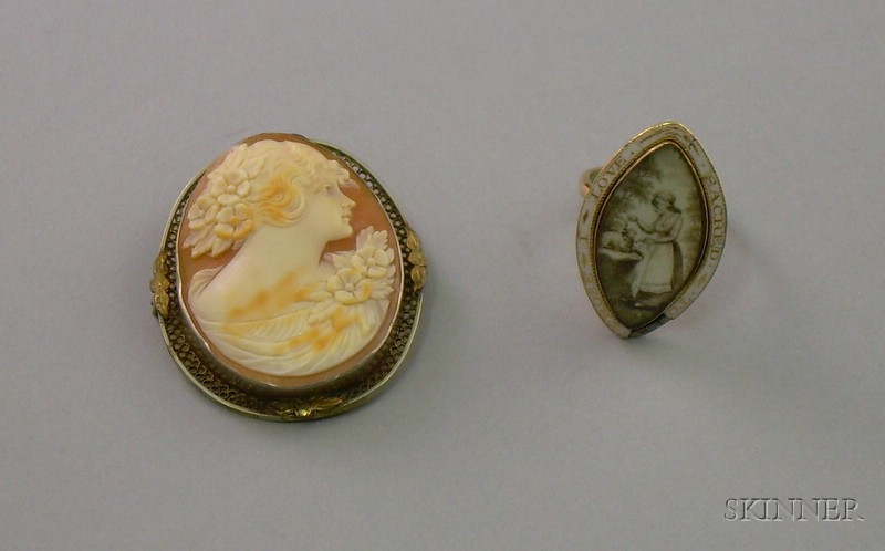 19th Century Enamel Decorated Memorial Ring and a Shell Carved Cameo Brooch