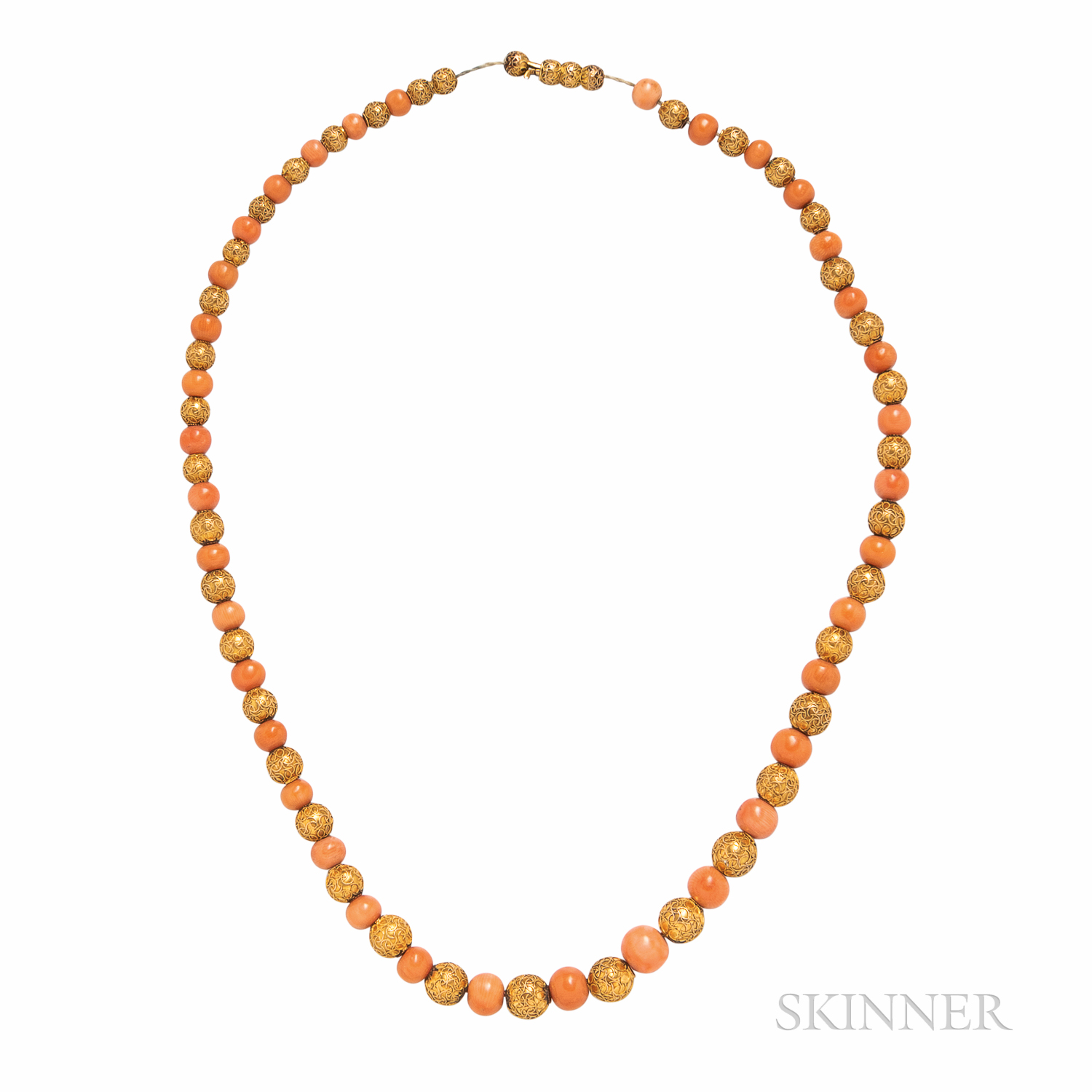 Antique 14kt Gold and Coral Bead Necklace