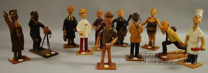 Eleven Romer Whimsical Carved and Painted Wood Figures