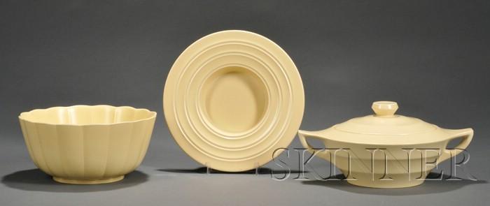 Three Wedgwood Keith Murray Design Matte Straw Slip Glazed Items