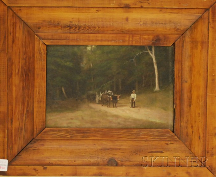 American School, 19th Century      Oxcarts and Driver on a Woodland Road.