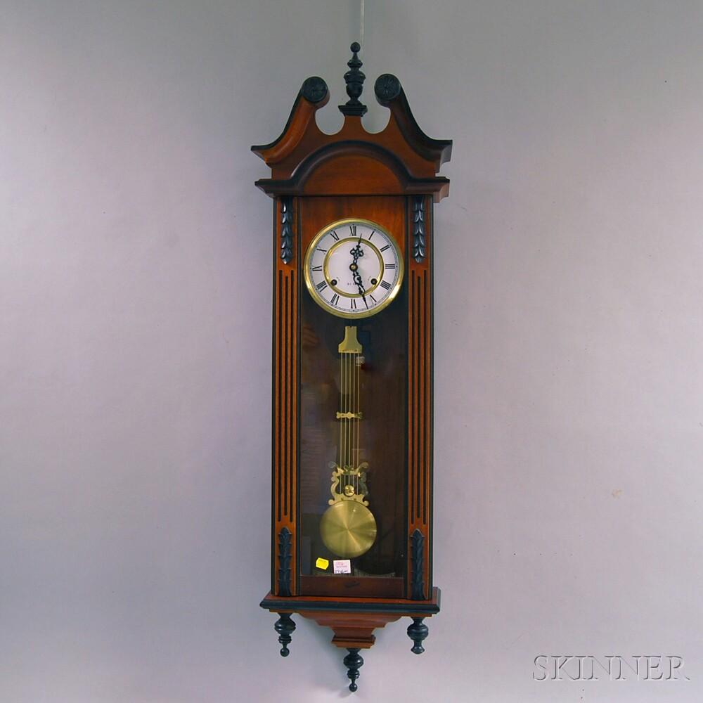 Mahogany and Ebonized Thirty-one-day Wall Clock